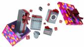 Home appliance in gift box with ribbons and bow — 图库照片