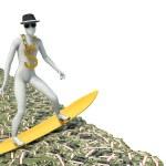 Surfer on a wave of cash. 3d illustration — Stock Photo #61900093