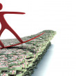Surfer on a wave of cash. 3d image — Stock Photo #61900367