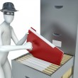 3d man stealing documents — Stock Photo #62510787