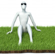 Happy man on grass. Isolated 3D image — Stock Photo #63799301