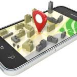 smartphone with wireless navigator map. GPS satellite navigatio — Stock Photo #64658713