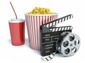 Cinema clapper, popcorn and drink. 3d — Stock Photo