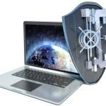 Shield antivirus and laptop, abstract — Stock Photo #66180085