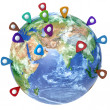 Travel destination concept. Pin on earth. Navigation in USA. 3d  — Stock Photo #66180061
