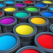 Abstract concept. Group of tin metal cans with color paint dye — Stock Photo #66180579