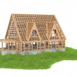 Illustration of grass with new house under construction — Stock Photo #67846861