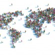 Large group of people standing in the form of a world map — Stock Photo #67846965