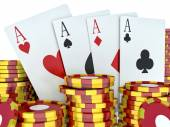 3d renderer image. Red casino tokens and Playing Cards. Casino c — Stock Photo