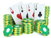 3d renderer image. Green casino tokens and Playing Cards. Casino — Stock Photo