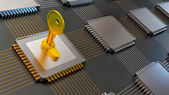 3d illustration of encoded chip and many others — Stock Photo