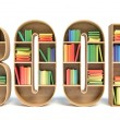 3d image of colorful book in shelve in shape of book word — Stock Photo #70890419