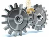 Oiling Gears on white background — Stock Photo