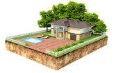 Villa with swimming pool on piece of earth with garden and trees — Stock Photo