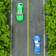 Green and blue cars on the road, the view from the top — Stock Photo #73480605