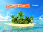 Tropical island in the ocean and plane with inscription travel — Stock Photo