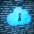 Cloud computing concept: blue Cloud With Keyhole on digital back — Stock Photo #74818241