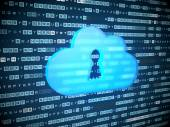 Cloud computing concept: blue Cloud With Keyhole on digital back — Stock Photo