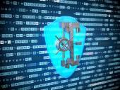 Privacy concept: blauwe pictogram van het schild op digitale achtergrond — Stockfoto