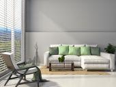 Interior moderno com mobília. ilustração 3d — Fotografia Stock