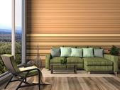 Interni moderni con mobili. illustrazione 3d — Foto Stock