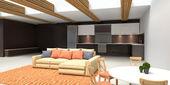 Modern mutfak ve oturma odası. illüstrasyon — Stok fotoğraf