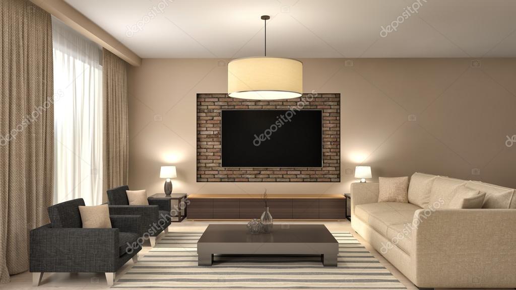 Moderne bruin woonkamer interieur design. 3D illustratie — Stockfoto ...