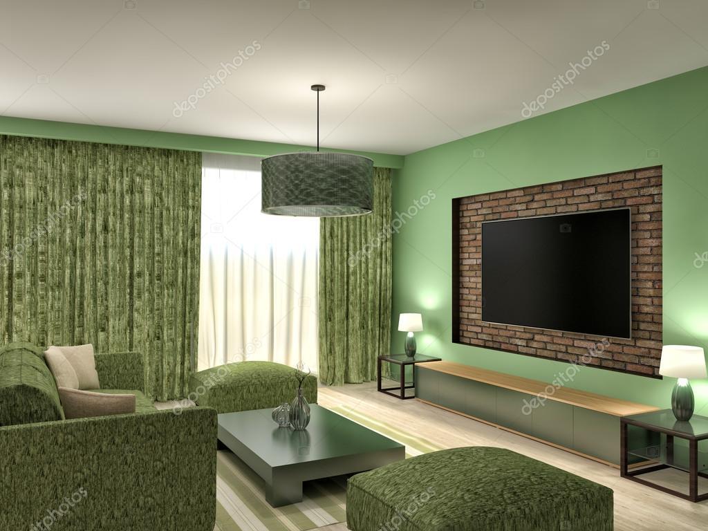Moderna gröna vardagsrum inredning. 3d illustration ...