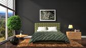Intérieur de chambre à coucher. illustration 3d — Photo