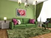 Wnętrze z sofą. ilustracja — Zdjęcie stockowe