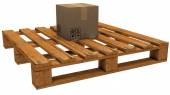 Pallet with a box — Stock Photo
