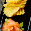 Smoked Salmon and Potato Chips — Stock Photo #64295751
