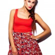 High fashion look.glamor stylish beautiful young woman model with red lips in summer bright colorful hipster cloth — Stock Photo #63354001