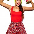 High fashion look.glamor stylish beautiful young woman model with red lips in summer bright colorful hipster cloth in yellow beanie — Stock Photo #63354061