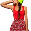 High fashion look.glamor stylish beautiful young woman model with red lips in summer bright colorful hipster cloth in yellow beanie — Stock Photo #63354073