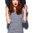 High fashion look.glamor stylish beautiful  young happy smiling woman model with red lips  in zebra dress in black summer hat — Stock Photo #63491787