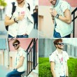 Collage collection o funny smiling hipster handsome man guy in stylish summer cloth in the street in sunglasses — Stock Photo #71756387
