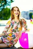 Funny  stylish sexy smiling beautiful young woman model in summer bright hipster cloth dress  in the street — Foto de Stock