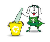 Recyclage d'une bouteille en plastique — Vecteur