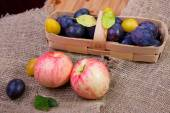 Apples and basket with plums — Stock Photo