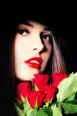 Portrait of Young Beauty Female with Red Roses Flowers — Stock Photo