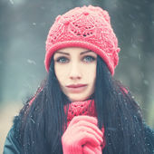 Winter Woman with Snow Outdoors — Stock Photo