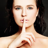 Young Woman Gesturing for Quiet or Shushing. Silence concept — Stock Photo