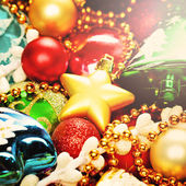 Bright Colorful Christmas Background with Xmas Decoration for Chr — Stock Photo