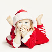 Happy Baby in Santa Hat. Infant Child Laughing — Stock Photo