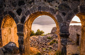 Gemiler Island ruins on sunset — Stock Photo