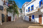White houses at Ibiza street — Stock Photo