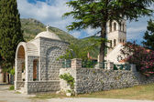 Rezevici medieval monastery entrance — Stock Photo