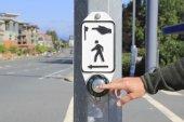 Pedestrian Crosswalk Button with Hand — Stock Photo