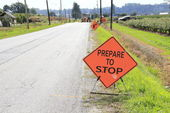Sign on a Road Construction Site — Stock Photo